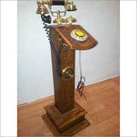 Antique Telephone Tube Stand with Clock