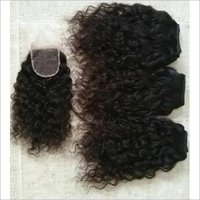 Unprocessed Indian Curly Hair , Cuticle Aligned Hair