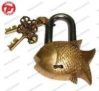 Lock W/ Designer Key Fish Shape
