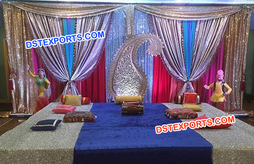 Shinning Backdrop Mehandi Stage Decors