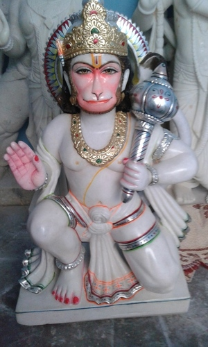 Marble Sitting Hanuman Statue