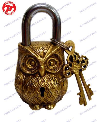 LOCK W/ KEYS OWL DESIGN