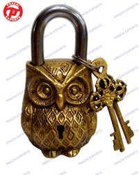 LOCK W/ KEYS OWL DESIGN
