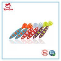 Colorful Plastic Toddler Spoon and Fork Set