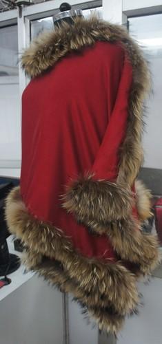 Four Side Raccoon fur shawls,silk pashmina wool