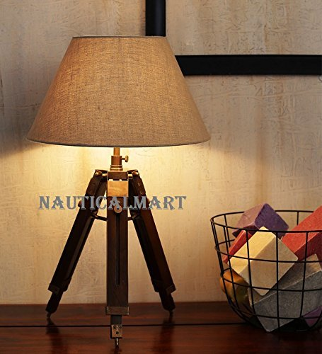 Nickle Finish Tripod Table Lamp With Cotton Shade