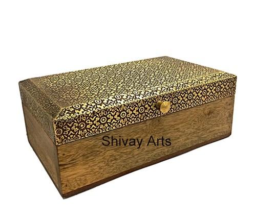 Wooden & Brass Elegant Box Organizer