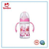 180ML Wide Neck Baby Nursing Bottle With Double Colors Handle