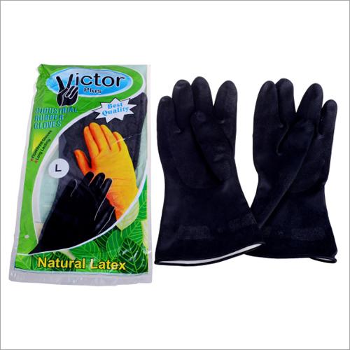 Orange & Black Natural Latex Gloves