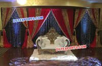 Wedding King Sofa With Shinning Stage Backdrop