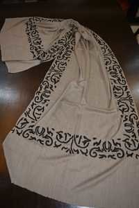 merino wool 4 side design embroidery scraves