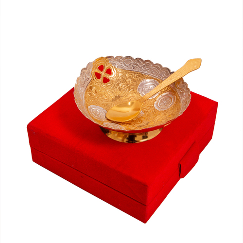 Traditional Silver Gold Plated Brass Bowl