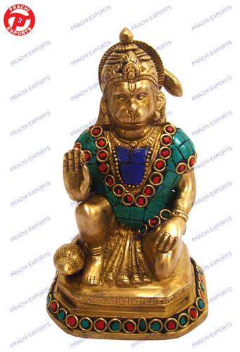 Hanuman  Sitting On Sq  W/ Stone Work