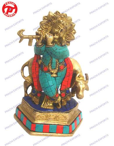 Krishna Standing W/Cow  W/ Stone