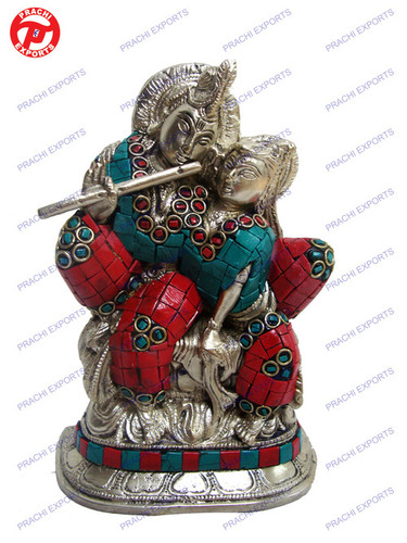 Radha Krishna Sitting In Loving Pose W/ Stone Work