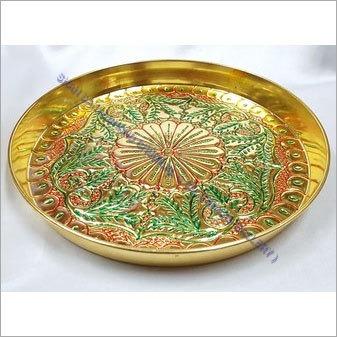 Brass Meenakari Thali