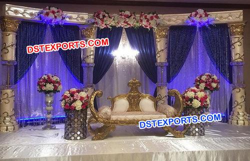 Crystal Pillar Royal Asian Wedding Stage
