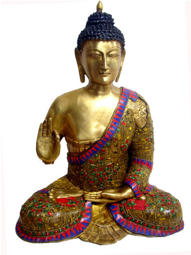 Buddha Sitting W/Out In Tiger Stone & Wire Beed