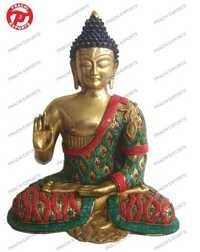 Buddha Sitting Carved B/Hand W/Stones Wi Re Beed