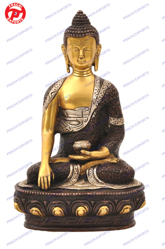 Buddha Sitting Sakyamuni W/ Deer On Base