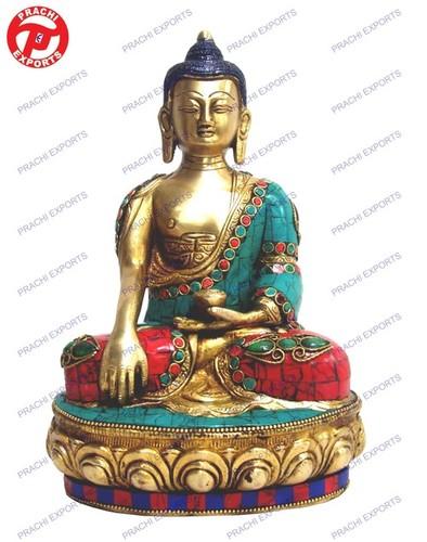 Buddha Sitting B/Hand W/ Stone Work  & Wire Beed