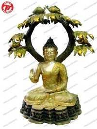 Buddha Under Tree In Antique Brown