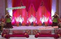 Punjabi Cultural Mehandi Stage Fiber Statues