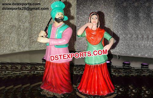Wedding Punjabi Couple Fiber Statue