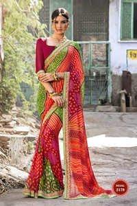 Georgette Bhandhani Saree