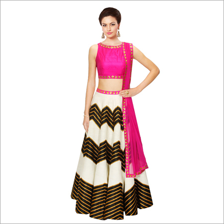 Raw Silk Semi Stitched Lehenga Choli