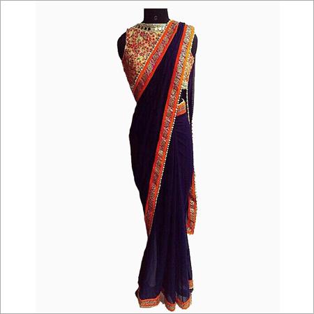Raw Silk Blue Saree