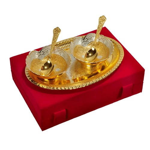 Silver Gold Plated Brass Bowl For Gift
