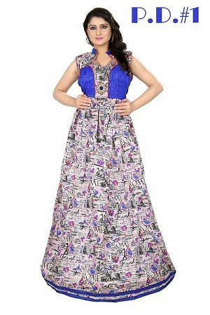 Designer Party Wear Bhagalpuri Print Fancy Gown