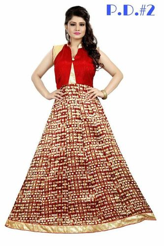 Designer Party Wear Bhagalpuri Printed Gown