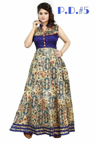Designer Fancy Party Wear Bhagalpuri Printed Gown
