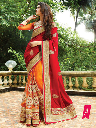 Exclusive Fancy Designer Party Wear Red Color Saree