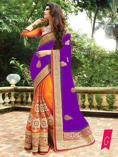 Fancy Designer Party Wear Multi Color Saree