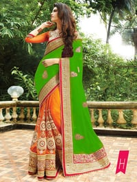 Party Wear Stylish Designer Georgette & Nylon Net Saree