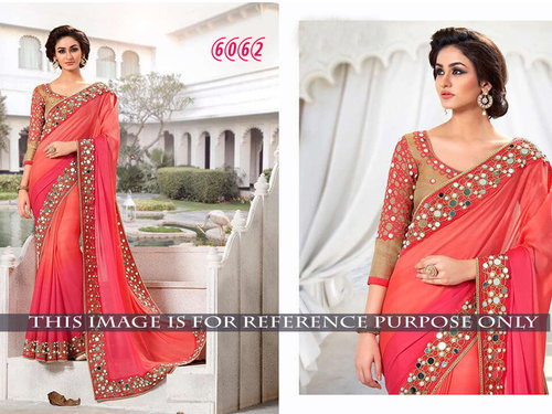 Latest Designer Party Wear Red Color Saree