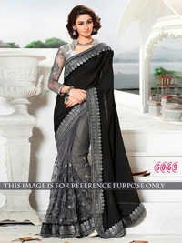 Fancy Designer Party Wear Black Color Saree