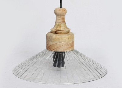 WOODEN LINE GLASS PENDANT LAMP
