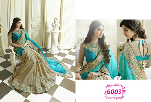 Designer Party Wear Georgette Sky Blue Color Saree