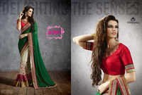 Designer Fancy Party Wear Green And White Saree