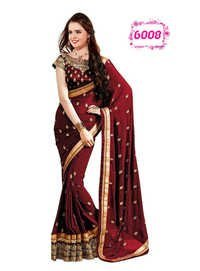 Maroon Color Saree Designer Party Wear