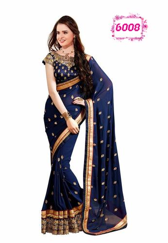 Designer Exclusive Party Wear Blue Saree