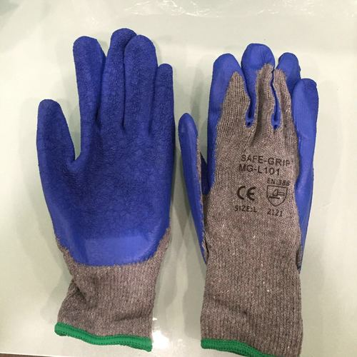 Grey blue rubber coated hand gloves