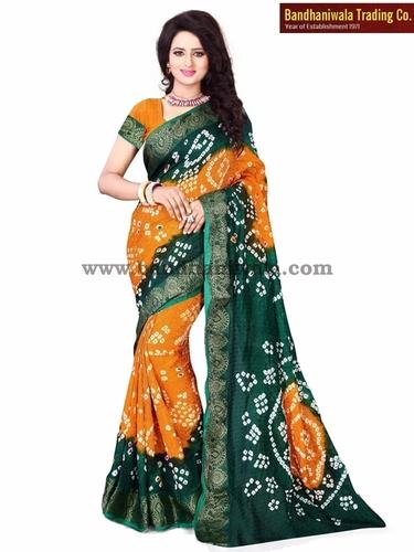 Bandhani Synthetic Silk Sarees