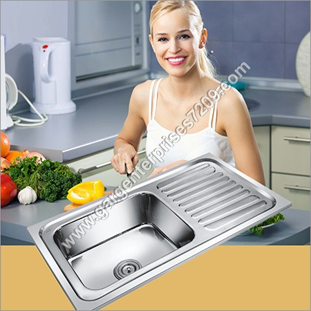 AISI-304 SS Single Bowl With Drain Board Sink