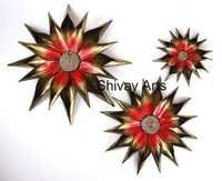 Metal Iron Flower Floral Wall Decor Wall Hanging - Set Of 3