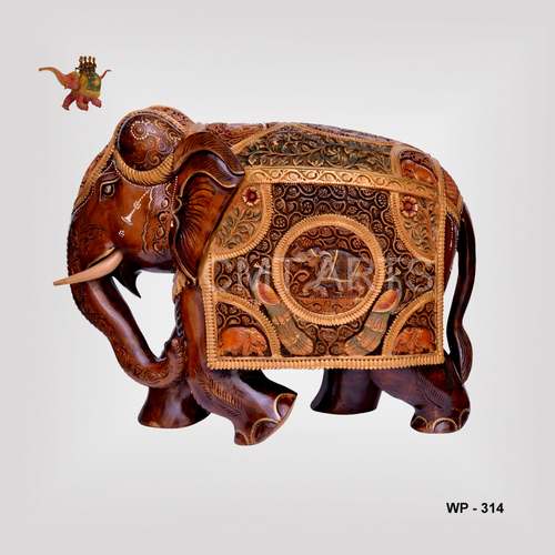 Wooden Special Painted Gold Finish Elephant